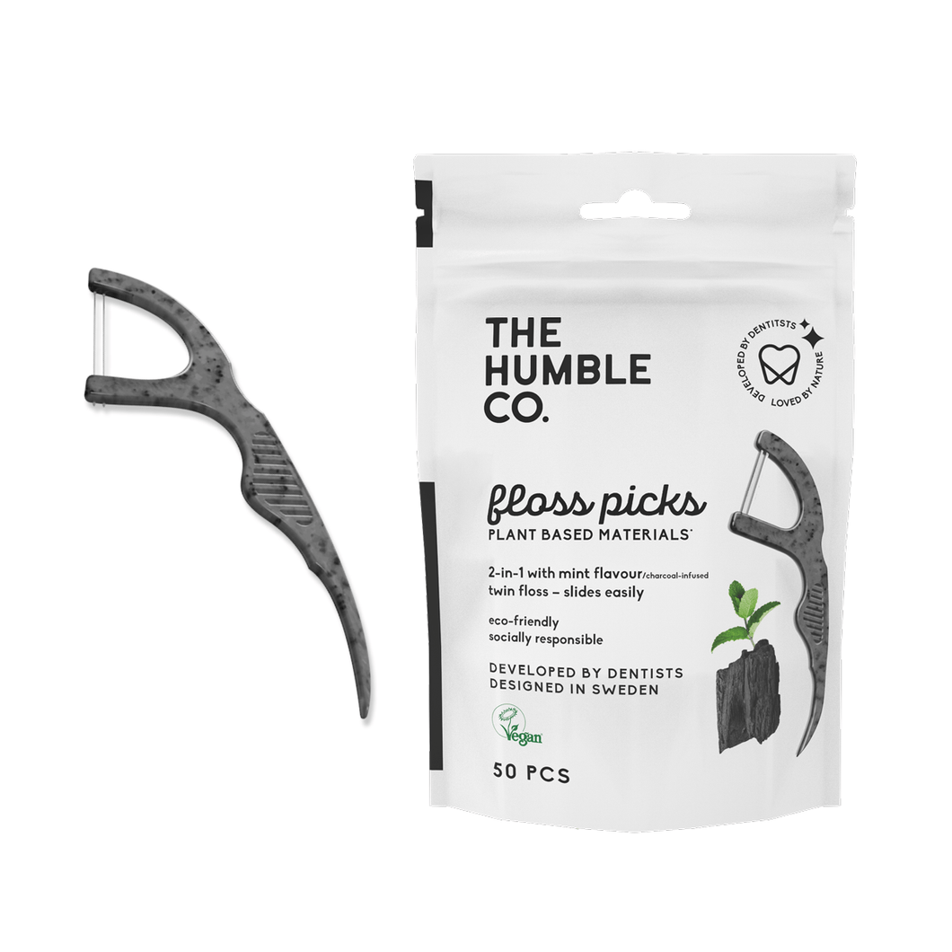 Natural Humble Floss Picks - Charcoal (50 pack) - humble-usa