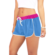 Color Block Women's Relaxed Shorts | XXL / Pink/Blue | Activewear | JacksonsRunaway