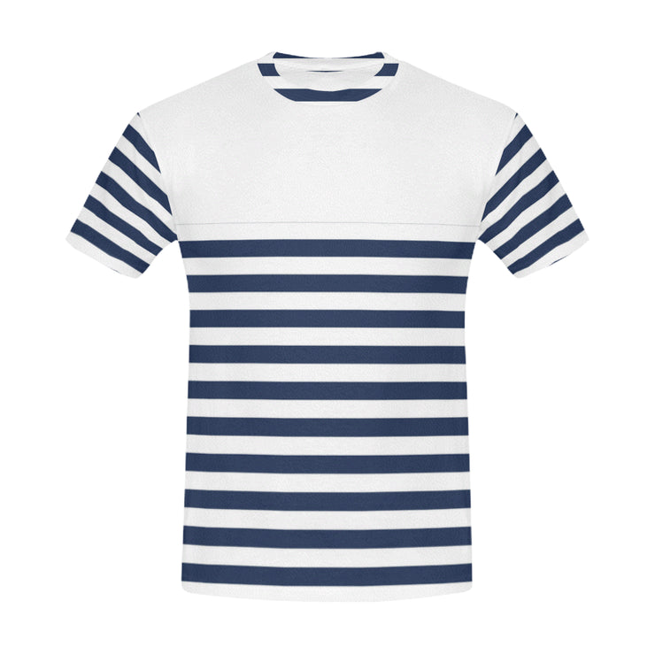 Striped Men's Casual T-Shirt | XXXL / White/Blue | Casual | JacksonsRunaway