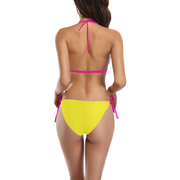 Yellow Buckle Front Halter Bikini Swimsuit