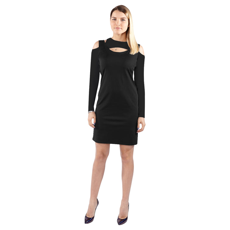 Black Follow Me Cold Shoulder Long Sleeve Dress | JacksonsRunaway