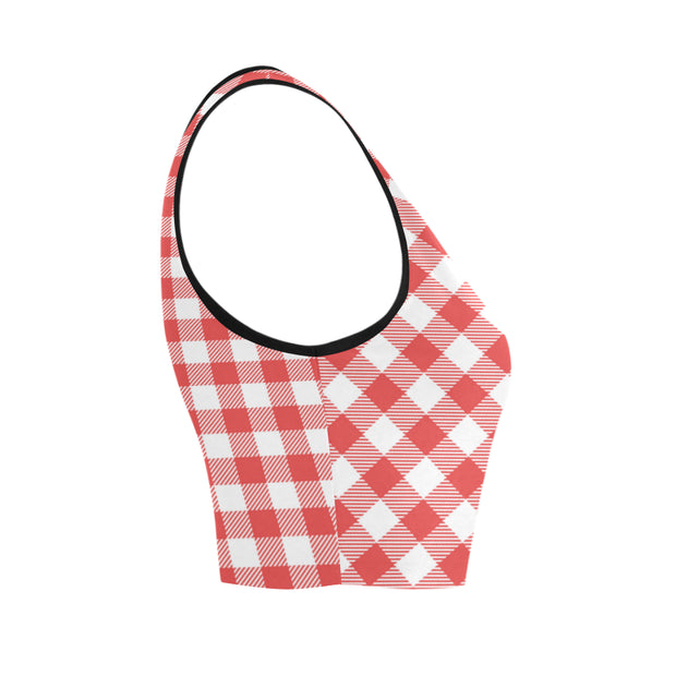 Gingham Red Women's Crop Top