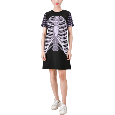Skeletor Short-Sleeve Round Neck A-Line Dress