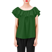Everyday Women's Off Shoulder Ruffle Blouse | XXL / Solid / Green | Blouse | JacksonsRunaway