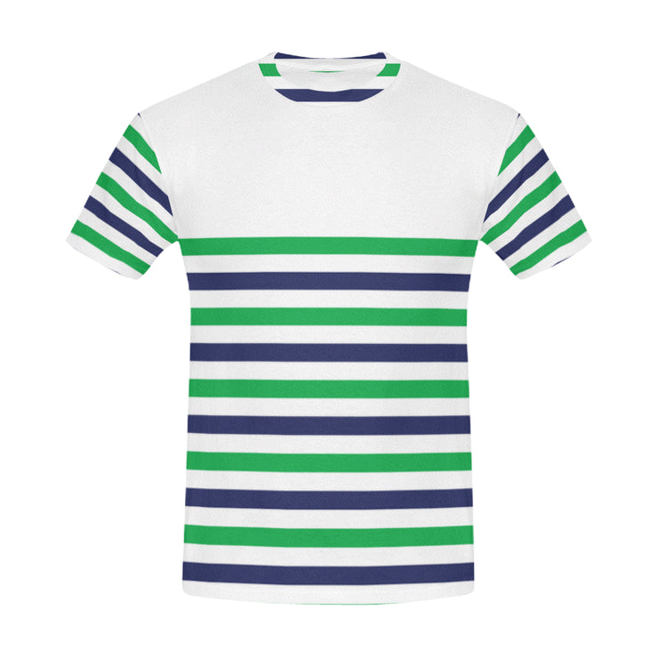 Striped Men's Casual T-Shirt | XXXL / White/Green/Blue | Casual | JacksonsRunaway