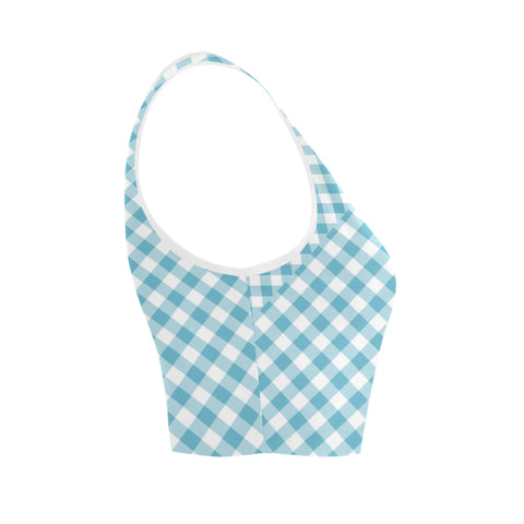 Gingham Blue Women's Crop Top