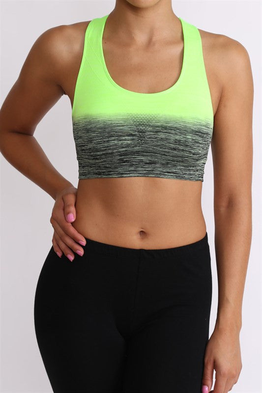 Ombre Sports Bra | Medium / Black Neon Green | Activewear | JacksonsRunaway