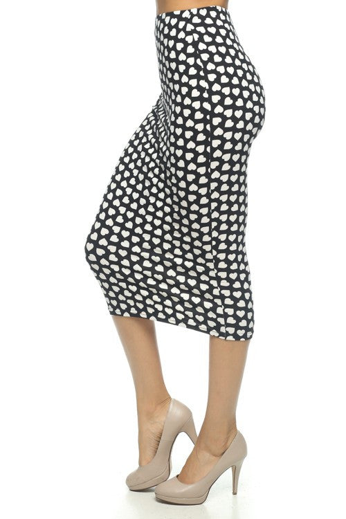Hearts on Fire Black White Printed Pencil Skirt   Jacksons Runaway    1