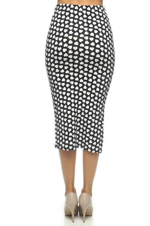 Hearts on Fire Black White Printed Pencil Skirt   Jacksons Runaway    3