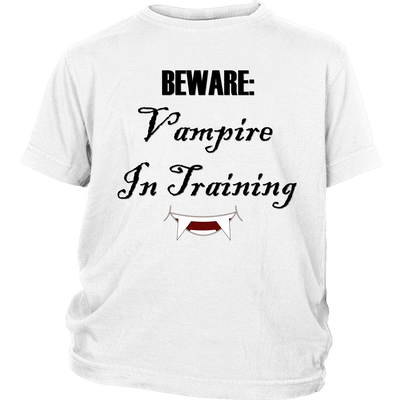 Vampire In Training Youth Shirt | District Youth Shirt / White / L | T-shirt | JacksonsRunaway