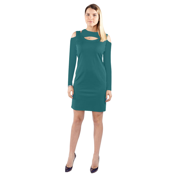 Dark Green Follow Me Cold Shoulder Long Sleeve Dress | JacksonsRunaway