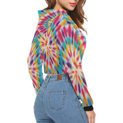 TyeDye Print Crop Hoodie |  | All Over Print Crop Hoodie for Women (H22) | JacksonsRunaway