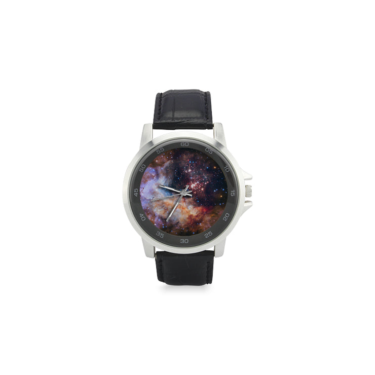 Galaxy Unisex Stainless Steel Leather Strap Watch