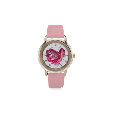 Roses Women's Rose Gold Leather Strap Watch