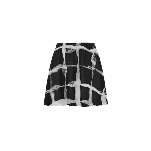 Artistic Black Mini Skater Skirt