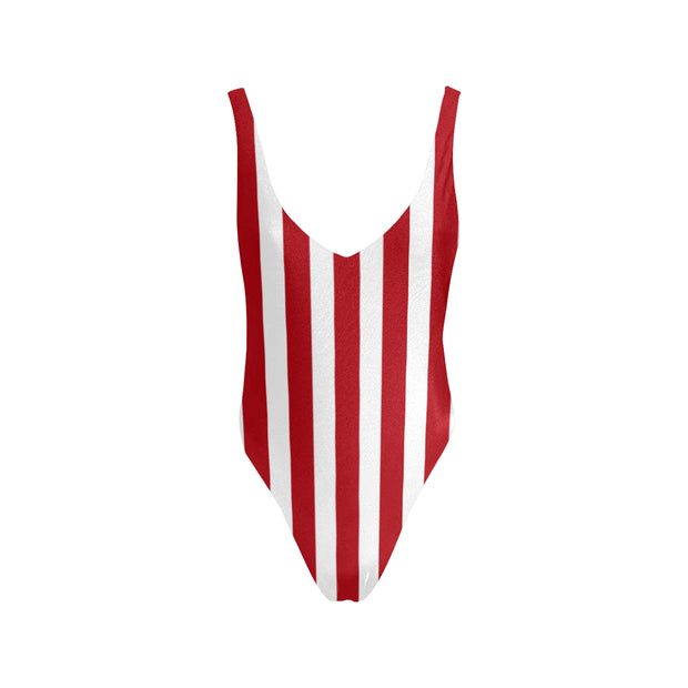 Red Striper Low Back Swimsuit |  | swimwear | JacksonsRunaway