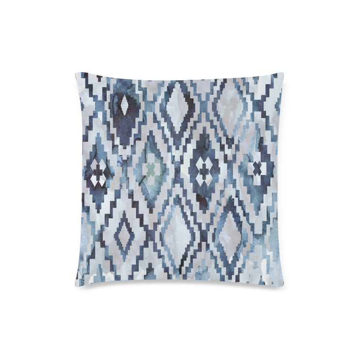 "Blue Ikat Zippered 18""x 18"" Pillow Case 