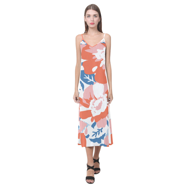 Blossom V-Neck Long Dress
