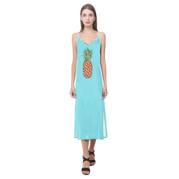 Pineapple V-Neck Long Dress