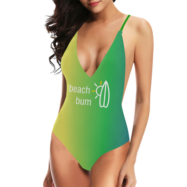 Beach Bum Swimsuit |  | Lacing Backless One-Piece Swimsuit (S10) | JacksonsRunaway