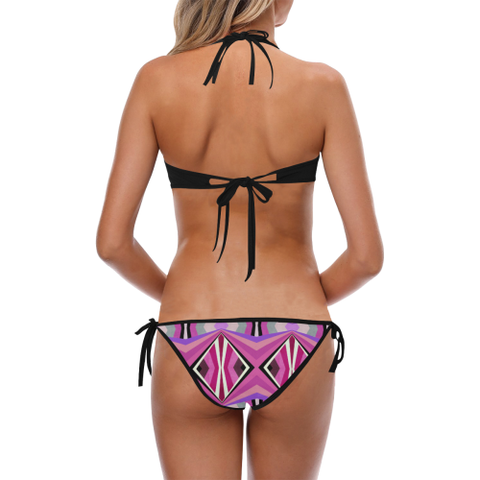 Abstract Halter Bikini Swimsuit