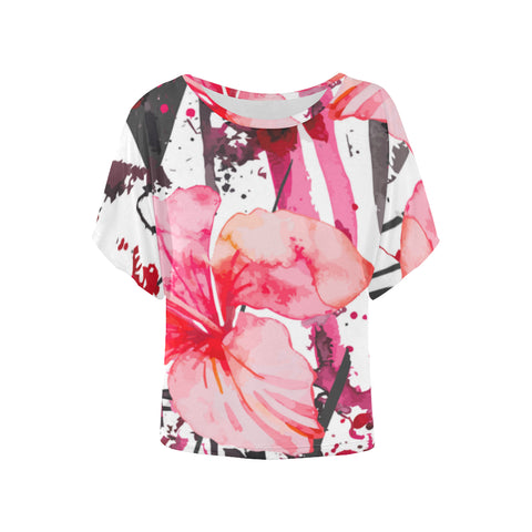 Abstract Women's Batwing-Sleeved Shirt