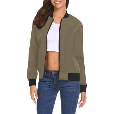 Fall Ready Women's Bomber Jacket | XXL / Olive All Over Print Bomber Jacket for Women (Model H19) | Outerwear | JacksonsRunaway