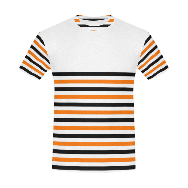 Striped Men's Casual T-Shirt | XXXL / White/Black/Orange | Casual | JacksonsRunaway