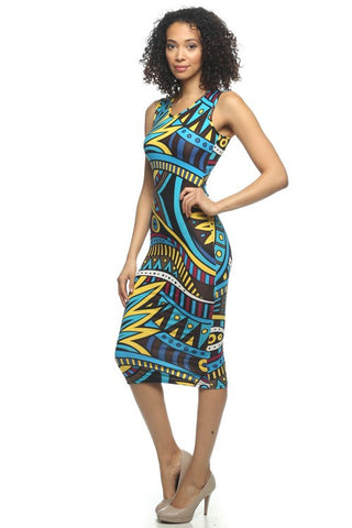 Multi Colored Printed V Neck Bodycon Dress   Jacksons Runaway    1