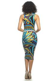 Multi Colored Printed V Neck Bodycon Dress   Jacksons Runaway    2