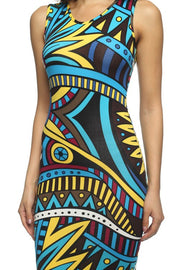 Multi Colored Printed V Neck Bodycon Dress   Jacksons Runaway    3