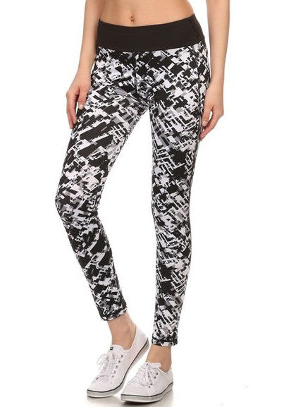 Geometric Pattern Full Pant Athletic Leggings   Jacksons Runaway    3
