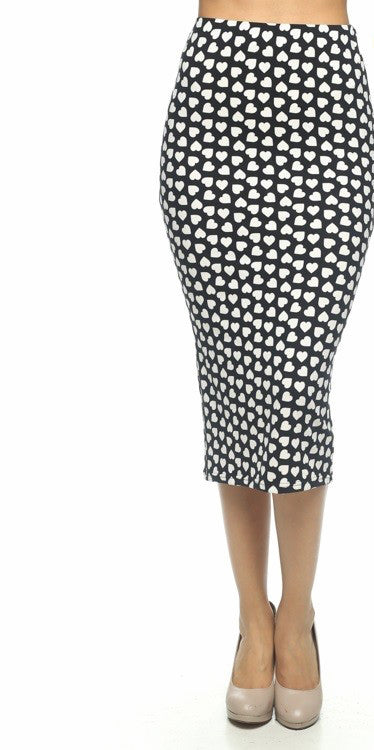Hearts on Fire Black White Printed Pencil Skirt   Jacksons Runaway    2