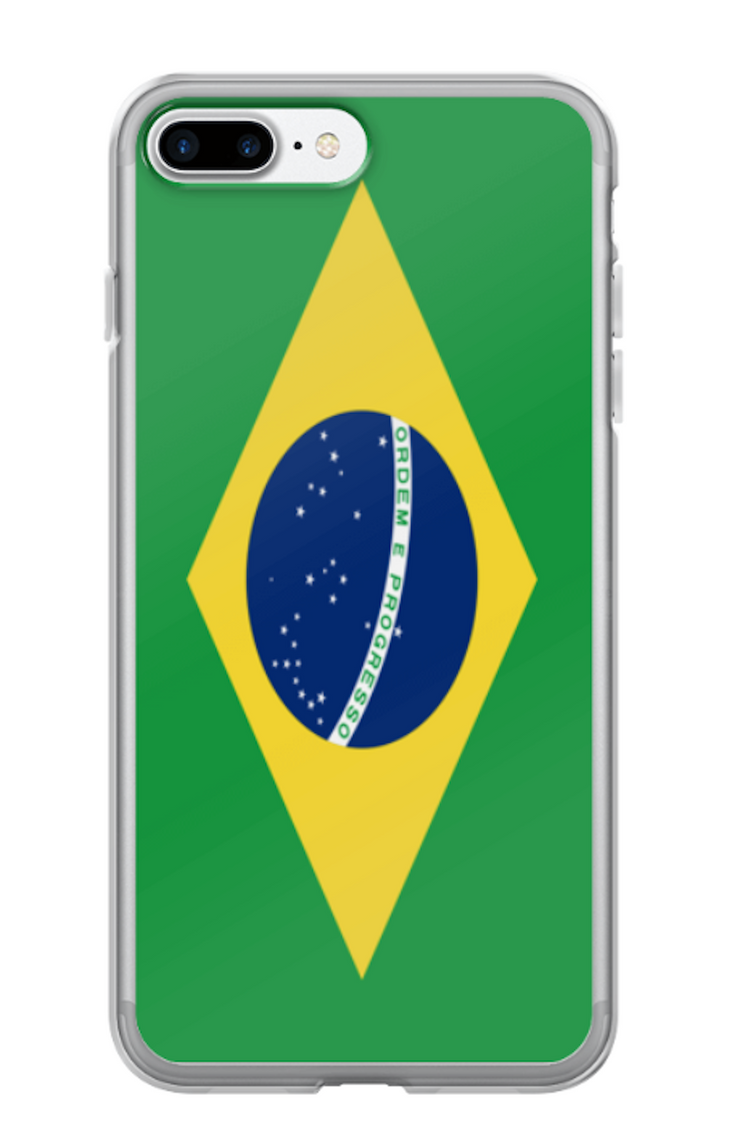 Flag of Brazil Protective iPhone Case (For all iPhone Models) | Brasil / iPhone 7 Plus / 8 Plus / Green/Yellow | Cellphone Accessories | JacksonsRunaway