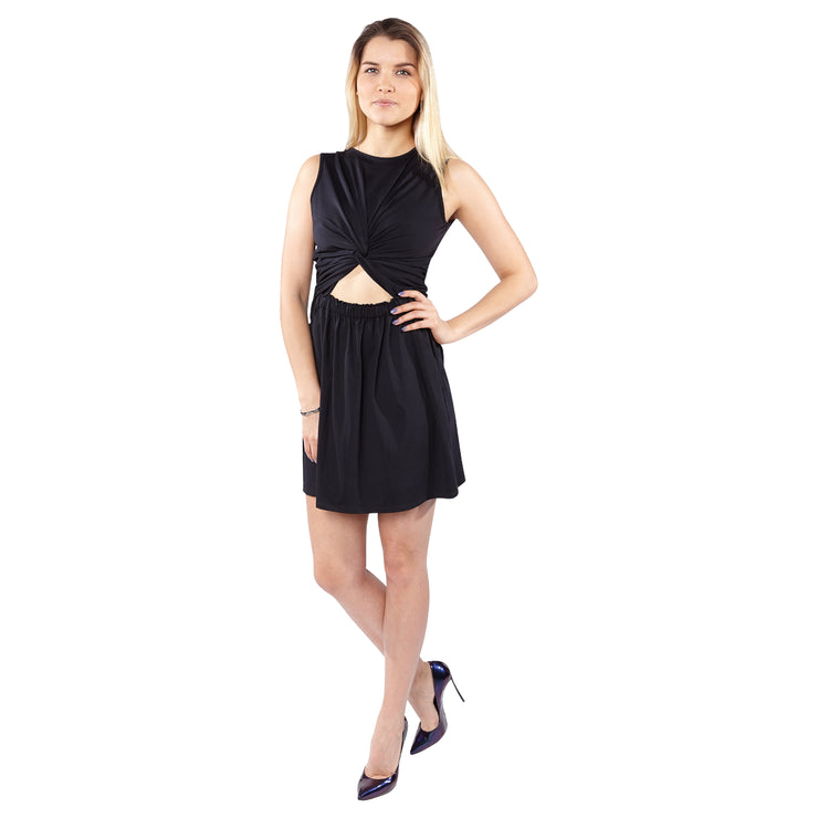 Date Night Sleeveless Cutout Waist Knotted Dress
