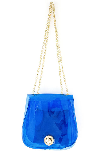 Clear Blue Vinyl Crossbody Handbag | Blue | Handbag/Clutch | JacksonsRunaway