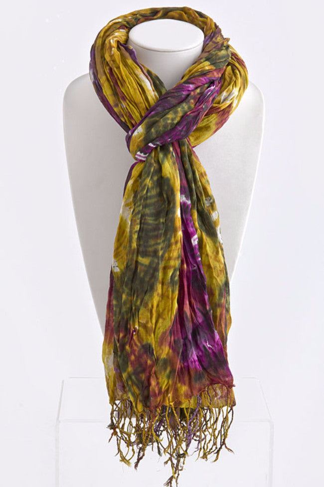 Crinkled Waves Coloful Scarf | Purple/Mustard | Accessories | JacksonsRunaway