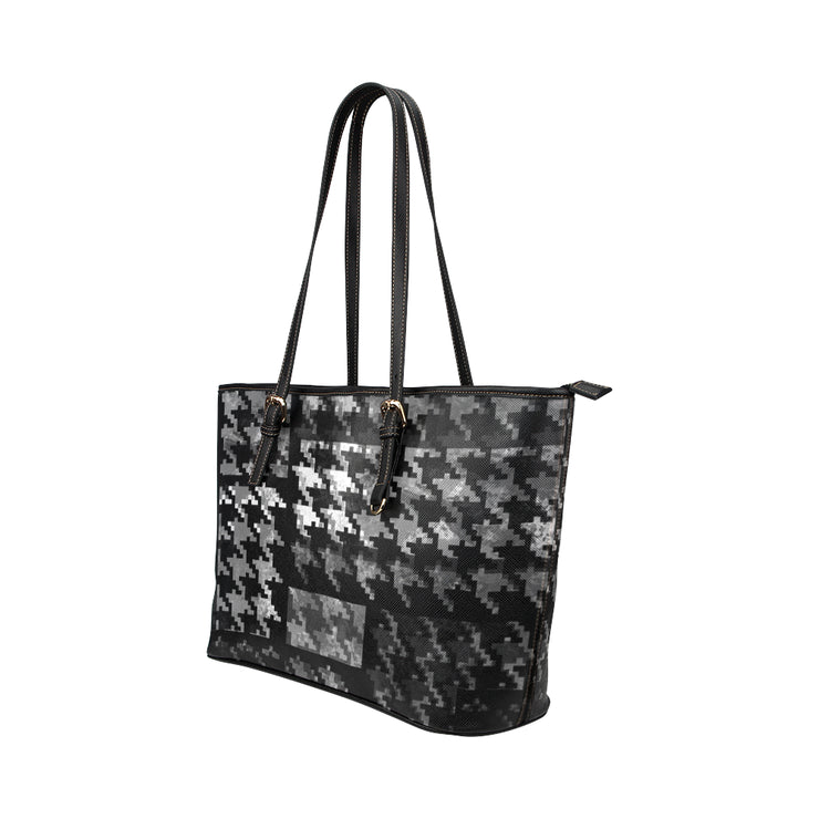 Houndstooth Leather Tote Bag
