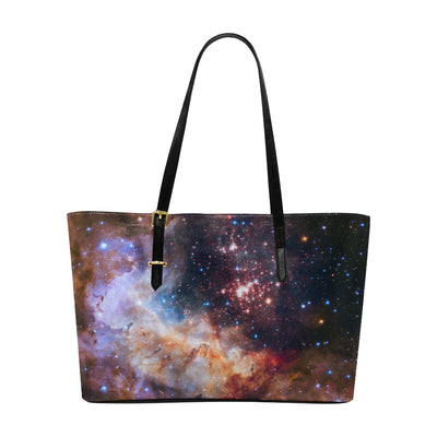 Faux Leather Galaxy Tote Bag