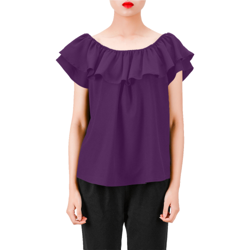 Everyday Women's Off Shoulder Ruffle Blouse | XXL / Solid / Purple | Blouse | JacksonsRunaway