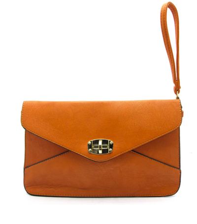 Edie Twist Lock Crossbody Clutch | Tangerine | Handbag/Clutch | JacksonsRunaway