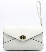 Edie Twist Lock Crossbody Clutch | White | Handbag/Clutch | JacksonsRunaway