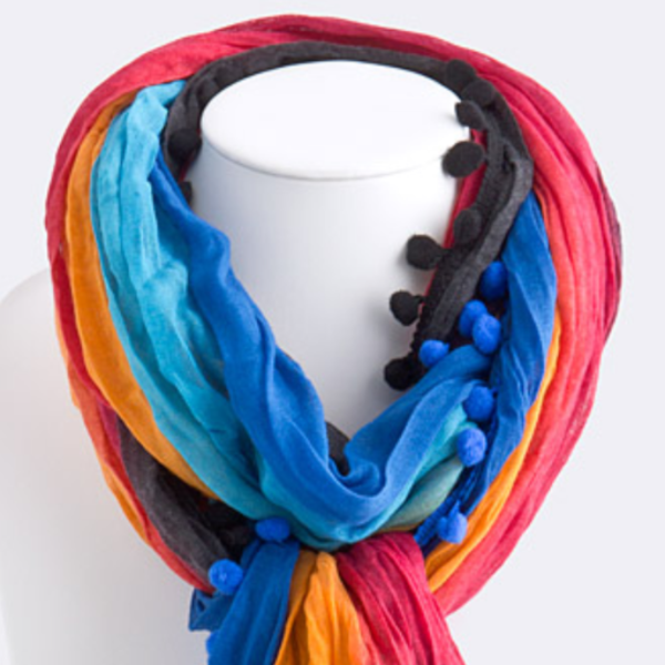 Pom Poms of Color Lightweight Scarf   Jacksons Runaway    3
