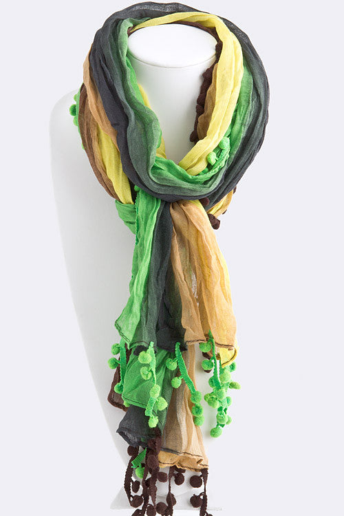 Pom Poms of Color Lightweight Scarf   Jacksons Runaway    2
