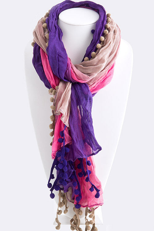 Pom Poms of Color Lightweight Scarf   Jacksons Runaway    1