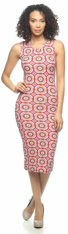 Rose Quartz Circle Print V Neck Bodycon Dress   Jacksons Runaway