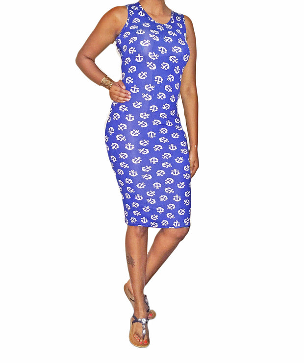 Anchor Blue Print Sleeveless Bodycon Dress   Jacksons Runaway    2