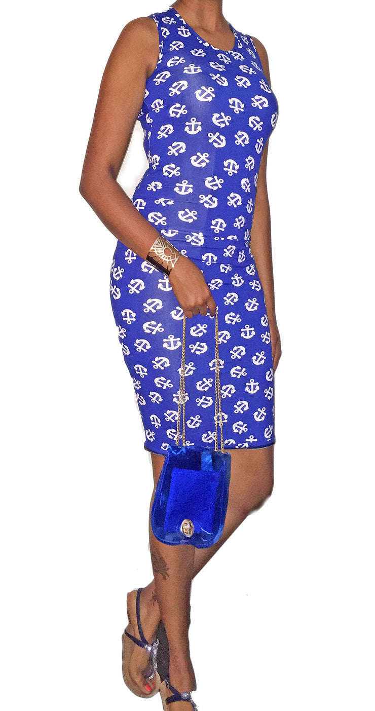 Anchor Blue Print Sleeveless Bodycon Dress   Jacksons Runaway    1