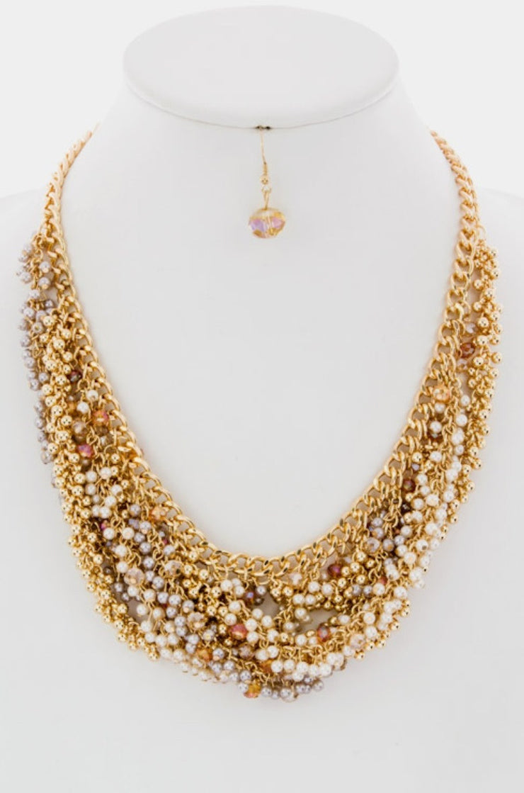 Cluster Statement Beaded Detail Necklace - Jacksons Runaway
