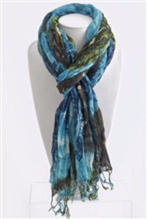 Crinkled Waves Coloful Scarf | Blue | Accessories | JacksonsRunaway